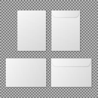Envelop a4 papieren witte blanco brieven enveloppen voor verticaal en horizontaal document vector mockup