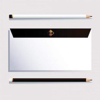 Envelop en potlood, huisstijlsjabloon op wit