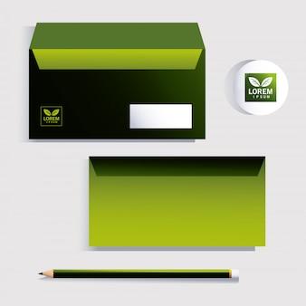 Envelop, huisstijlsjabloon over wit