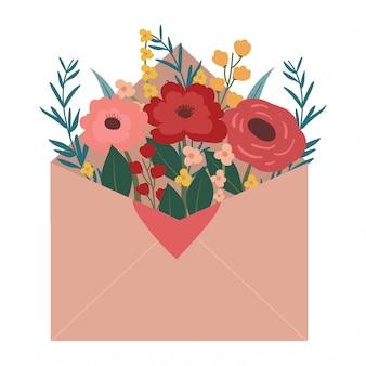 Envelop met bloeiende bloem