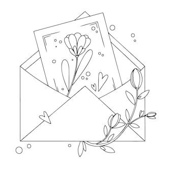 Envelop met briefkaart, bloemen en harten. vakantiepakket. illustratie in schetsstijl.