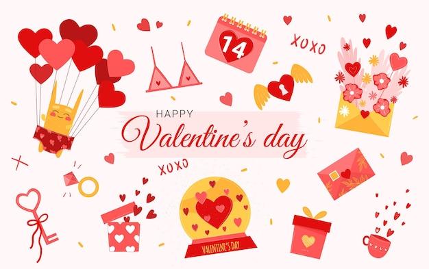 Envelop met een hartje, sleutel, een cadeaudoosje en een haas met ballonnen. valentijnsdag elementen in schattige platte cartoon hand getrokken stijl