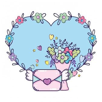 Envelop met hart en bloemen