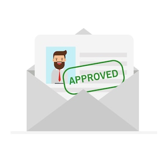 Envelop met letter goedgekeurd