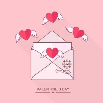Envelop met liefdesbericht, open brief met vliegende harten. fijne valentijnsdag