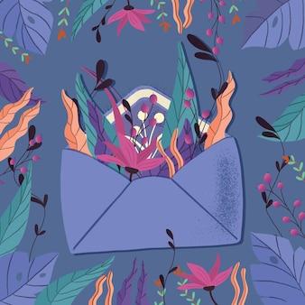 Envelop met liefdesbrief. kleurrijke hand getekend illustratie met hand belettering voor happy valentines day. wenskaart met bloemen en decoratieve elementen.