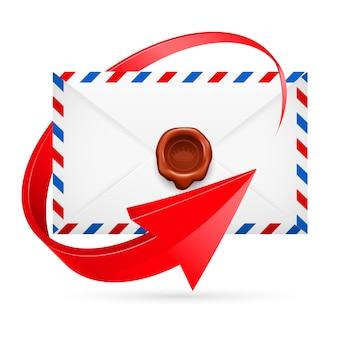 Envelop met rond stempel en pijl