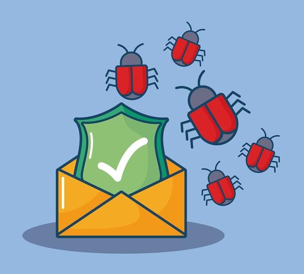 Envelop met schild en virusbeestjes over blauwe achtergrond