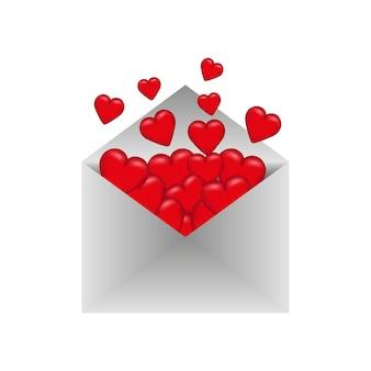 Envelop met valentijnskaarten. valentijnsdag.