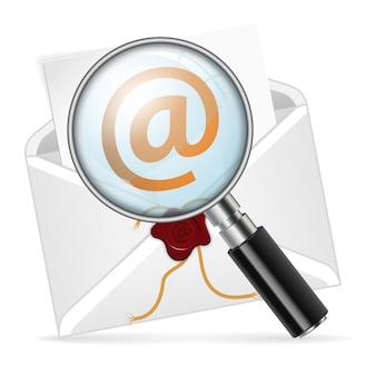 Envelop met vergrootglas. concept - zoek e-mail