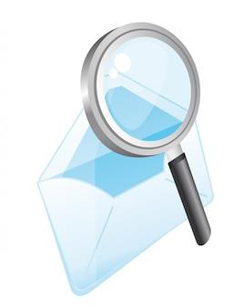 Envelop met vergrootglas met perspectief vector