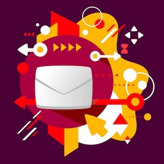 Envelop op abstracte donkere kleurrijke gevlekte achtergrond met verschillende elementen