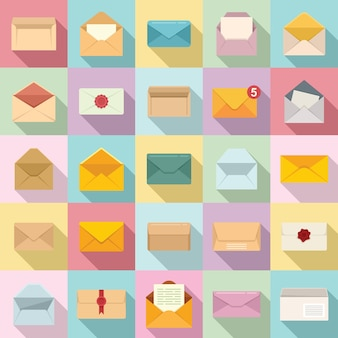 Envelop pictogrammen instellen platte vector. blanco post. postkaartsjabloon