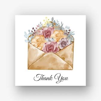 Envelop roos oranje kastanjebruin aquarel illustratie