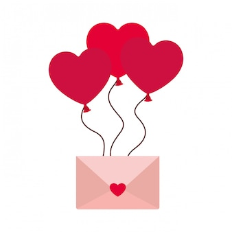 Envelop van de brief met hart geïsoleerde pictogram