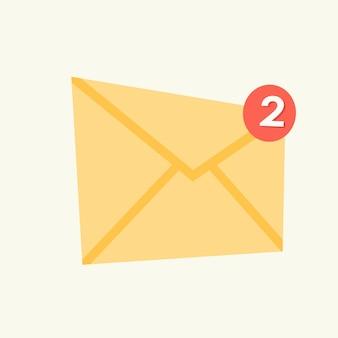 Enveloppictogram met gemiste berichten. postconcept. vector illustratie