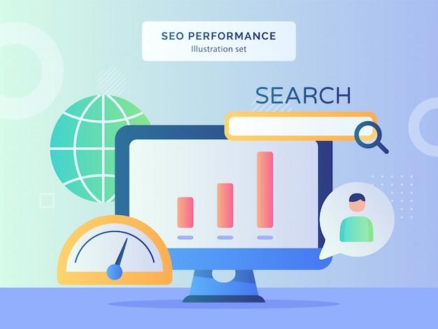 Eo prestatie illustratie set internet indicator snelheid van zoekmachine grafiek op monitor