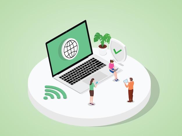 Eople gebruiken apparaten laptop tablet smartphone werk door toegang tot internet moderne platte cartoon stijl