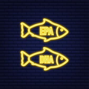Epa, dha vector druppels instellen. neon icoon. omega drie. biologische vitamine. vector illustratie.