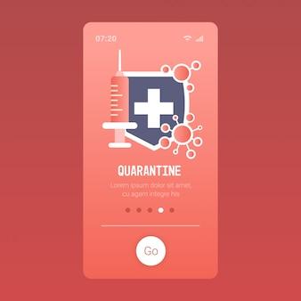 Epidemie drijvend influenza suringe vaccinatie bescherming concept beschermend schild wuhan coronavirus pandemie medisch gezondheidsrisico mobiele app