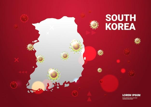 Epidemie griep verspreiding van de wereld drijvende griepviruscellen wuhan coronavirus pandemie medisch gezondheidsrisico zuid-korea kaart horizontaal