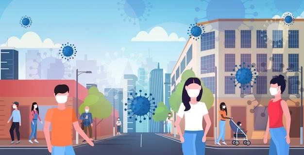 Epidemie mers-cov-bacteriën zwevende griepviruscellen mensen in maskers lopen buiten wuhan coronavirus quarantaine 2019-ncov moderne stadsstraat stadsgezicht