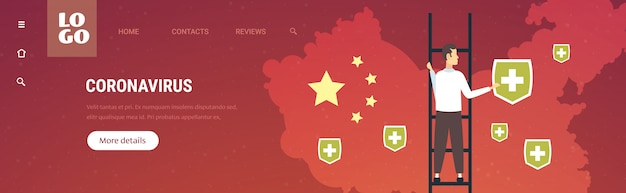 Epidemie mers-cov man zet medische schild pinnen van steden met coronavirusinfectie wuhan 2019-ncov pandemie medische gezondheidsrisico chinese kaart achtergrond horizontale volledige lengte kopie ruimte