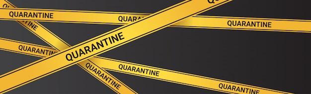Epidemie mers-cov quarantaine voorzichtigheid op gele waarschuwingstape coronavirusinfectie wuhan 2019-ncov pandemie gezondheidsrisicoconcept horizontaal