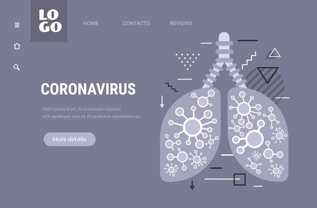 Epidemie mers-cov zwevend griepvirus geïnfecteerde menselijke longen wuhan coronavirus 2019-ncov pandemie medisch gezondheidsrisico horizontale kopie ruimte