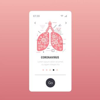 Epidemie mers-cov zwevend griepvirus geïnfecteerde menselijke longen wuhan coronavirus 2019-ncov pandemie medisch gezondheidsrisico smartphonescherm mobiele app kopie ruimte