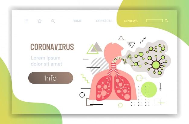 Epidemie mers-cov zwevende influenzaviruscellen geïnfecteerde menselijke longen wuhan coronavirus 2019-ncov pandemie medisch gezondheidsrisico horizontaal portret kopie ruimte