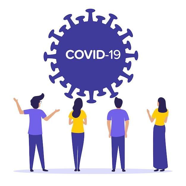Epidemie wereldwijd pandemisch coronavirus uit china. covid 2019-ncov. vrienden, menigte mensen plat paarse kleuren illustratie van quarantaine.