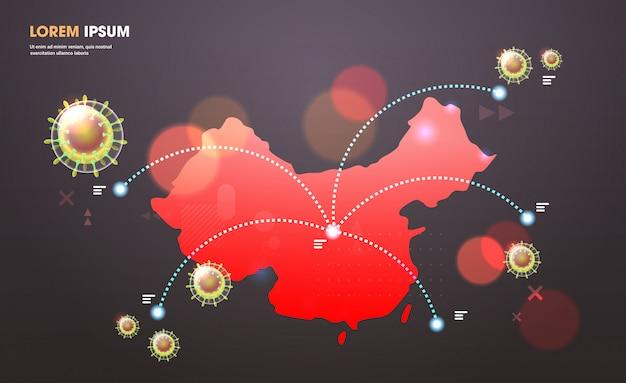 Epidemische griep verspreiding van de wereld drijvende griepvirus cellen wuhan coronavirus pandemie medische gezondheidsrisico chinese kaart horizontaal
