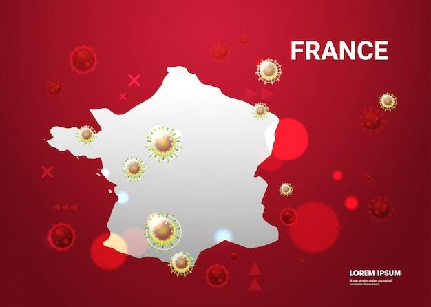 Epidemische griep verspreiding van de wereld drijvende griepvirus cellen wuhan coronavirus pandemie medische gezondheidsrisico frankrijk kaart horizontaal