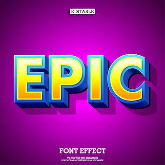 Epische cartoon 3d-game en film lettertype