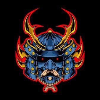 Epische samurai hoofd illustratie