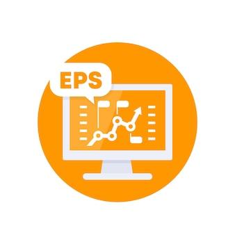 Eps, winst per aandeel, financieel vectorpictogram