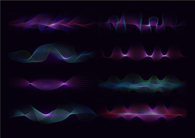 Equalisergolven op zwarte achtergrond. realistische set van geluid en radiogolven. digitaal stem grafisch ontwerp, illustratie.