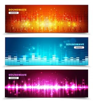 Equalizer geluidsgolven tonen geplaatste banners