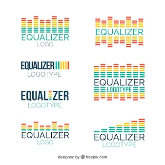 Equalizer-logoverzameling met plat ontwerp
