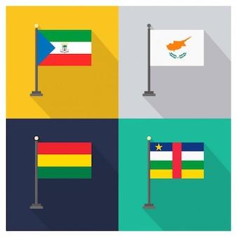 Equatoriaal-guinea cyprus bolivia en de centraal-afrikaanse republiek vlaggen