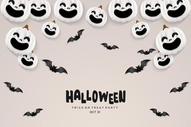 Er is een lachend halloween-pompoenfeestje