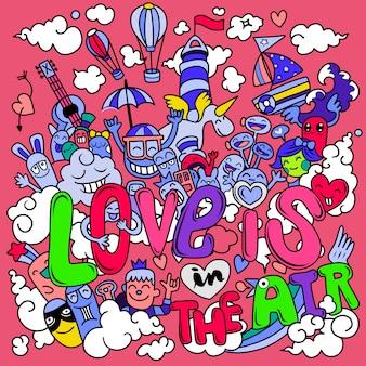 Er is liefde in de lucht. hand getrokken hand getrokken vectorillustratie van doodle cartoon
