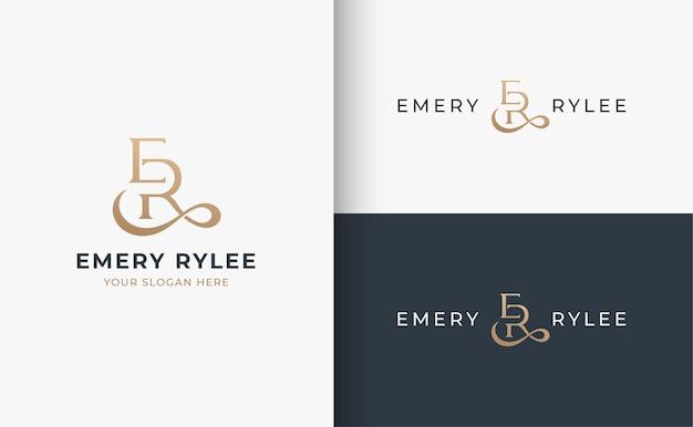 Er monogram serif brief logo ontwerp