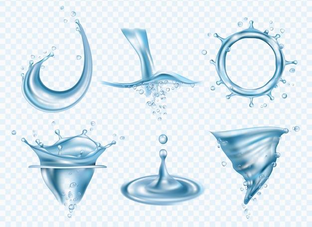 Er spat water. wasvloeistof oppervlak vloeibaar weer regenachtige druppels whirlpool realistische afbeeldingensjabloon