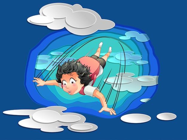 Er springt iemand op blauwe lucht.