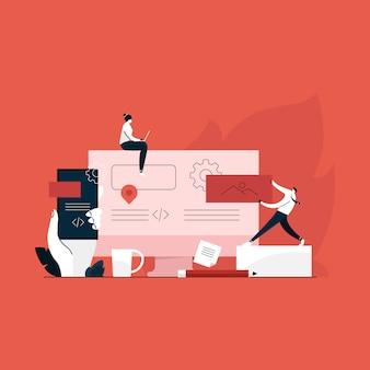 Er team samen te werken in de web-industrie, responsive web concept