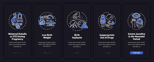 Erfelijke hypoacusis onboarding mobiele app paginascherm met concepten