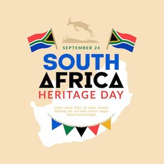 Erfgoeddag (zuid-afrika) in plat ontwerp