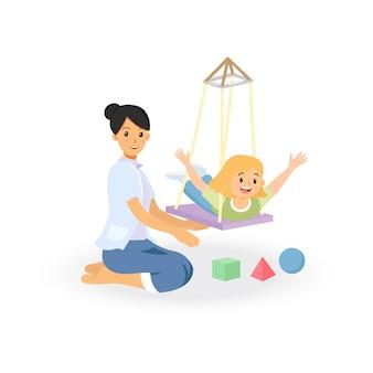 Ergotherapie-behandelingssessie voor screening op kinderen